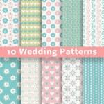 Pastel loving wedding vector seamless patterns (tiling). — Stock Vector
