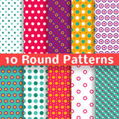 Different round shape vector seamless patterns (tiling). — Stock Vector