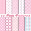 Pink different vector seamless patterns — Stock Vector