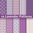 Lavender different vector seamless patterns — Stock Vector #35782931