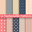Fashionable vector seamless patterns (tiling). Retro. — Stock Vector