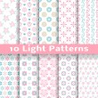 Light floral romantic vector seamless patterns (tiling). — Stock Vector