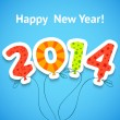 Happy New Year colorful greeting card with balloons. Vector — Stock vektor