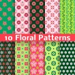 Different floral vector seamless patterns (tiling). — Stock Vector