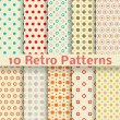 Retro dot vector seamless patterns (tiling). — Stock Vector