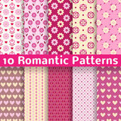 Romantic different vector seamless patterns (tiling). — Stock Vector