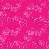 Romantic heart and butterfly vector seamless pattern — Stockvektor
