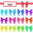Collection colorful ribbon bows on white background. — Vector de stock