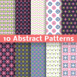 Abstract patterns. Set of vector seamless background — Stok Vektör