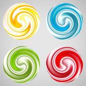 Set of milk yogurt cream curl or lollipop. — Stock Vector