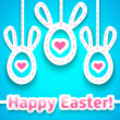 Funny easter card with big-eared eggs. — Stock Vector