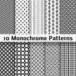 Monochrome different vector seamless patterns (tiling) — Stock Vector #39769873