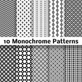 Monochrome different vector seamless patterns (tiling) — Stock Vector