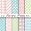 Pastel retro different vector seamless patterns (tiling) — Stock Vector #39770137