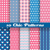 Chic different vector seamless patterns (tiling) — Stock Vector