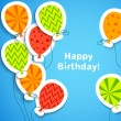 Happy birthday postcard with balloons. Vector illustration — Stock Vector #40031255