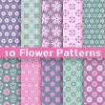 Romantic flower different vector seamless patterns (tiling) — Stockvektor  #40032105