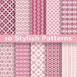 Stylish vector seamless patterns (tiling). Pink color — Stock Vector #40032117
