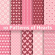 Heart shape vector seamless patterns (tiling) — Vector de stock  #40033243