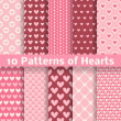 Heart shape vector seamless patterns (tiling) — Cтоковый вектор #40033243