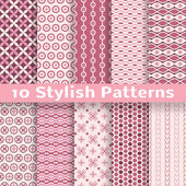 Stylish vector seamless patterns (tiling). Pink color — Stock Vector