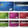 Set of realistic credit card two sides isolated — Stockvektor