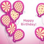 Happy birthday retro postcard with pattern balloons — Stock Vector #40982751