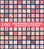 Fashionable vintage vector seamless patterns — Stock Vector