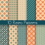 Retro abstract vector seamless patterns — Stock Vector
