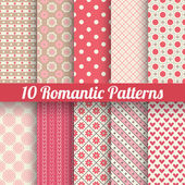 Romantic vector seamless patterns (tiling, with swatch). — Stock Vector