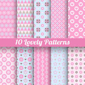 Lovely vector seamless patterns (tiling, with swatch). — Stock Vector