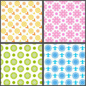 Spring abstract floral vector seamless patterns — Stock Vector