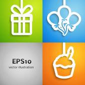 Happy birthday colorful applique icon background set — Stock Vector