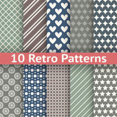 Retro abstract vector seamless patterns — Stock Vector