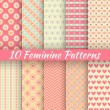 Pastel loving wedding vector seamless patterns (tiling). — Stockvector