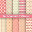 Pastel loving wedding vector seamless patterns (tiling). — 图库矢量图片 #44613471