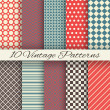 Vintage different vector seamless patterns (tiling) — Stock Vector #45050229