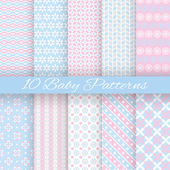 Baby pastel different vector seamless patterns (tiling) — Stock Vector