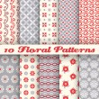 10 Floral fashionable vector seamless patterns (tiling) — Stock Vector #46046121