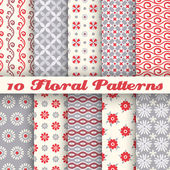 10 Floral fashionable vector seamless patterns (tiling) — Stock Vector