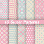 10 Sweet cute vector seamless patterns (tiling) — Stock Vector