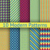 10 Different modern vector seamless patterns (tiling) — Stock Vector