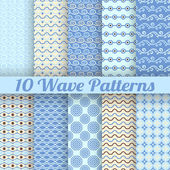 10 Wave different seamless patterns (tiling) — Stock Vector