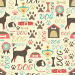 Retro seamless vector pattern of dog icons. Endless texture can — Stock Vector #46630017