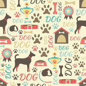 Retro seamless vector pattern of dog icons. Endless texture can — Stock Vector