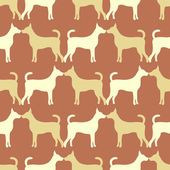 Animal seamless vector pattern of dog silhouettes. Endless textu — Stock Vector