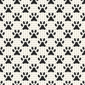 Seamless animal pattern of paw footprint and dot. Endless textur — Stock Vector