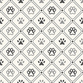 Seamless animal pattern of paw footprint in frame and polka dot. — Stock Vector