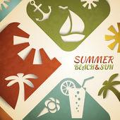 Abstract summer vector illustration. Retro beach — Stock Vector