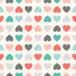 Seamless geometric pattern with hearts. Vector illustration — Stock Vector